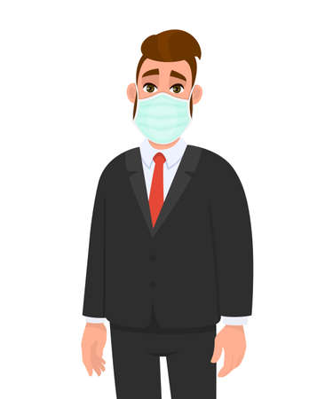 Young businessman wearing medical mask. Trendy hipster person covering face protection from virus disease. Modern lifestyle. Male character cartoon illustration design in vector style.