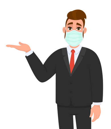 Young business man wearing medical mask and presenting hand to copy space. Trendy hipster person covering face protection and introducing something. Male character cartoon illustration in vector style Illusztráció