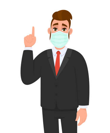 Young businessman wearing medical mask and pointing finger up symbol. Trendy hipster person covering face protection and gesturing hand sign. Male character cartoon illustration in vector style.