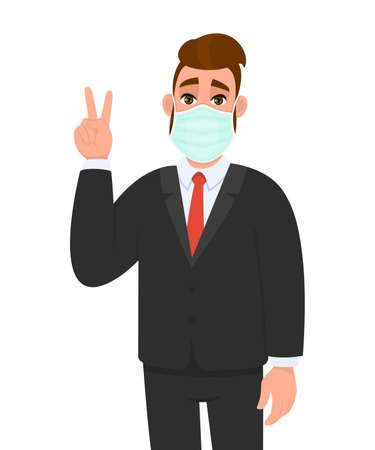 Young business man wearing medical mask and showing victory, peace sign. Trendy hipster person covering face protection and gesturing hand symbol. Male character cartoon illustration in vector style. Illusztráció
