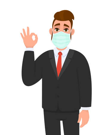 Young businessman wearing medical mask and showing okay, OK sign. Trendy hipster person covering face protection and gesturing hand symbol. Male character design cartoon illustration in vector style.