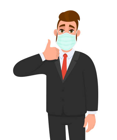 Young business man wearing medical mask and showing thumbs up sign. Trendy hipster person covering face protection and gesturing hand symbol. Male character cartoon illustration design in vector style Illusztráció