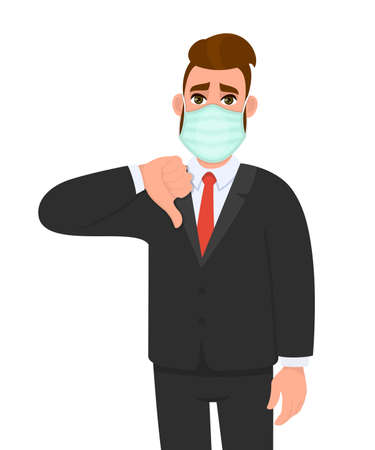Unhappy young businessman wearing medical mask and showing thumbs down sign. Trendy hipster person covering face protection and gesturing hand symbol. Male character cartoon illustration in vector. 矢量图像