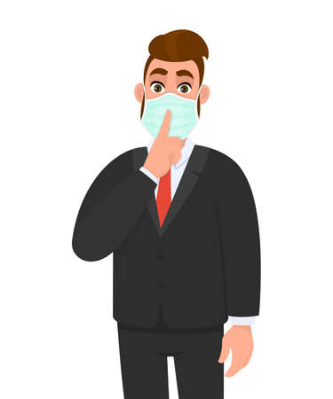 Young business man wearing medical mask and asking silence. Trendy hipster person gesturing finger on lips. Male character covering face protection from virus. Cartoon illustration design in vector.