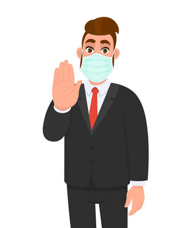 Young business man wearing medical mask and showing stop sign with hand palm. Trendy hipster person gesturing warning symbol. Male character covering face protection. Cartoon illustration in vector.