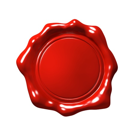 genuine: Red Wax Seal 4 - Isolated