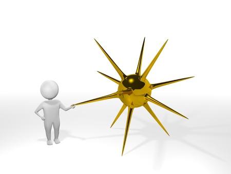 3D Man - Mine - Gold Stok Fotoğraf