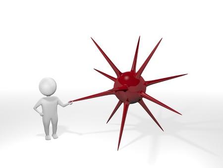 urchin: 3D Man - Mine - Red Stock Photo