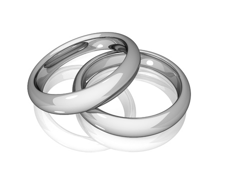 結婚式 - 白いゴールデン リング