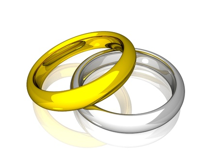 platinum wedding ring: Wedding Rings - Yellow And White Gold Stock Photo