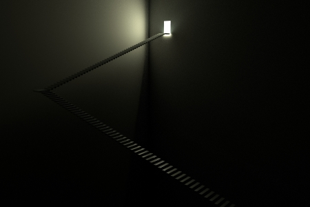 계단 - 어둠 속에서 빛 스톡 콘텐츠
