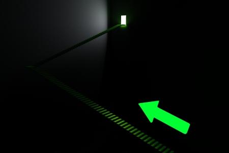 green door: Stairway - Direction In The Dark Stock Photo