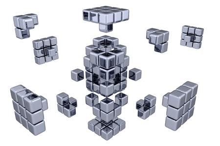 3 D キューブ - 部品の組み立て