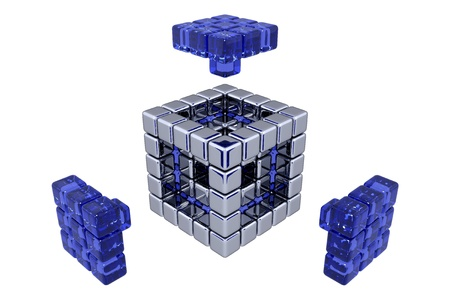 3D Cubes - Assembling Parts - Blue Glass photo