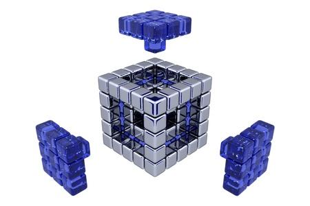 3D Cubes - Assembling Parts - Blue Glass