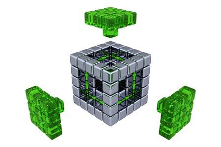 3 D キューブ - - 緑色のガラスの部品を組み立てる 写真素材