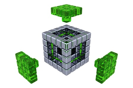 assembling: 3D Cubes - Assembling Parts - Green Glass Stock Photo