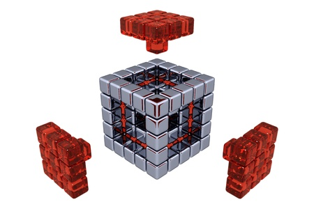 red cube: 3D Cubes - Assembling Parts - Red Glass