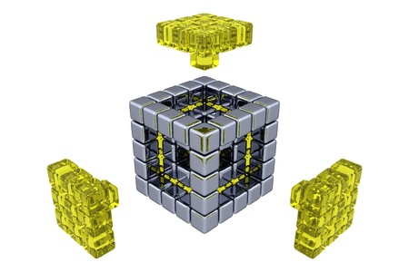 3D Cubes - Assembling Parts - Yellow Glass photo