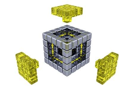 3D Cubes - Assembling Parts - Yellow Glass