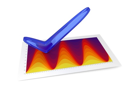 sinusoidal: 3D Chart - Temperature Stock Photo