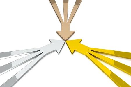 3 차원 화살표 - 3 1 - 골드 실버 브론즈