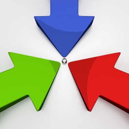3 D の矢印 - 3 色 - 目標