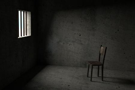 cellule de prison: Détenu - Intérieur d'une cellule de prison - 3D Banque d'images