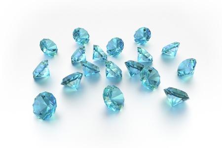 handful: 3D Topaz - 18 Blue Gems - White Background