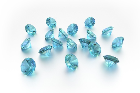 3D Topaz - 18 Blue Gems - White Background