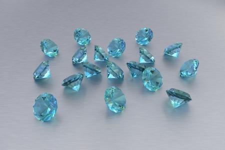 precious metal: 3D Topaz - 18 Blue Gems - Grey Background Stock Photo
