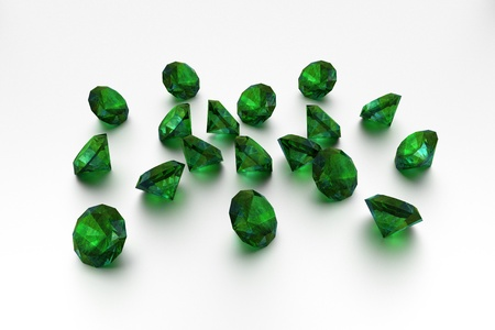 precious stone: 3D Emeralds - 18 Green Gems  Stock Photo