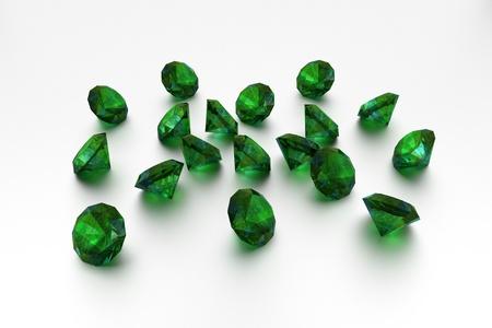 3D Emeralds - 18 Green Gems  Standard-Bild