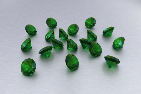 handful: 3D Emeralds - 18 Green Gems  Stock Photo