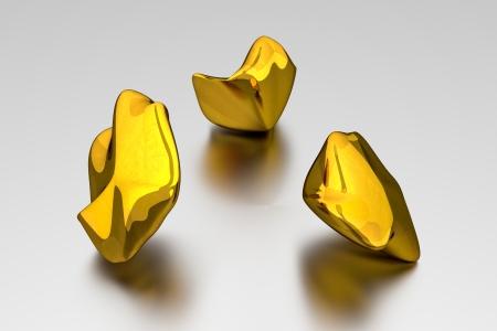 abstrait: 3D Gold Nuggets
