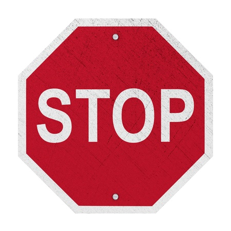 worn sign: Used STOP Sign - Isolated Stock Photo