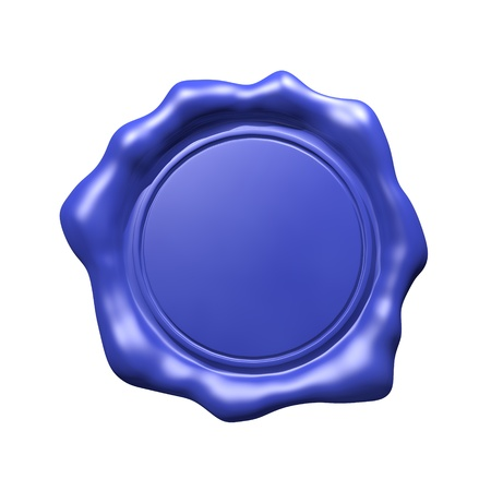 signet: Blue Wax Seal - Isolated  Blank  Stock Photo