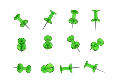 12 Realistic Thumbtacks - GREEN Set  Translucent Plastic  photo