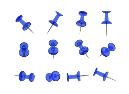 12 Realistic Thumbtacks - BLUE Set  Translucent Plastic  photo
