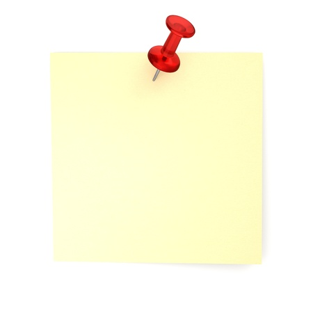 tack: 3D Realistic Post-it With Red Thumbtack - Isolated Stock Photo