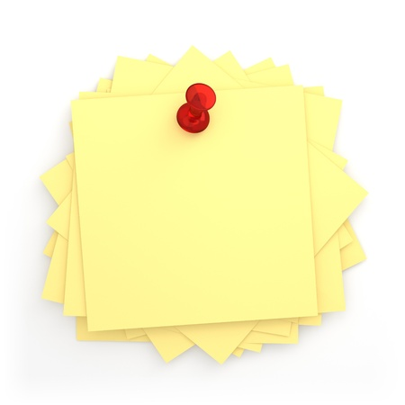 3D Pile of Post-it with Red Thumbtack - Isolated