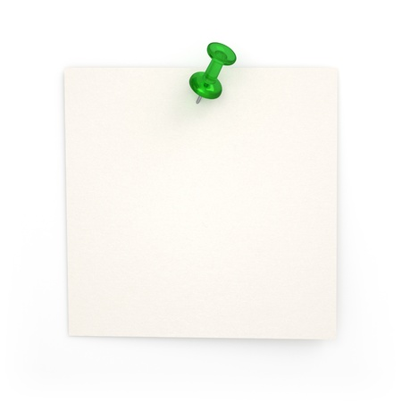 tack: 3D Realistic Post-it With Green Thumbtack - Isolated Stock Photo