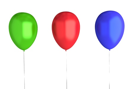 3 Balloons  Green, Red, Blue