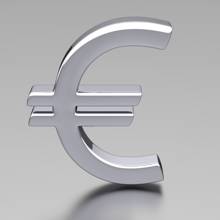 3D Chrome Euro Sign photo