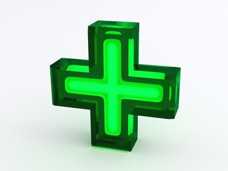 Green Medical Cross Sign