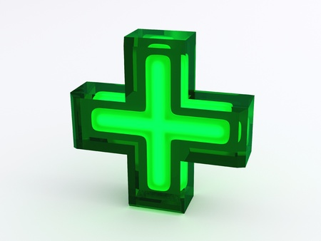 pharmacy icon: Green Medical Cross Sign