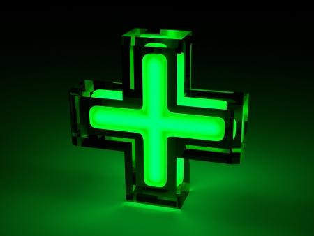 medical lighting: Green Medical Cross - Lighting