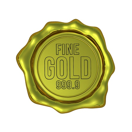 fine gold: Fine Gold 999 9 - Isolated