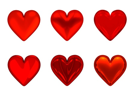 3D Red Hearts  6  - Isolated photo