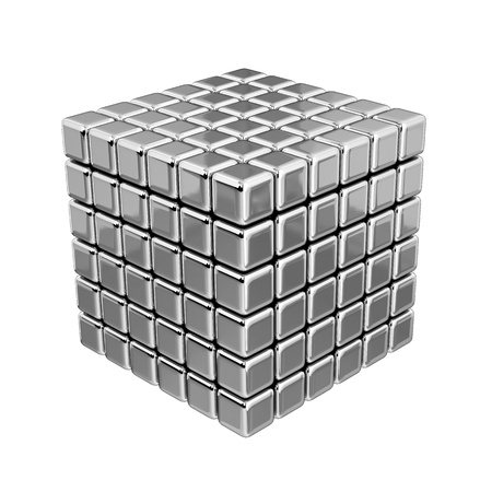 3D 금속 큐브 스톡 콘텐츠